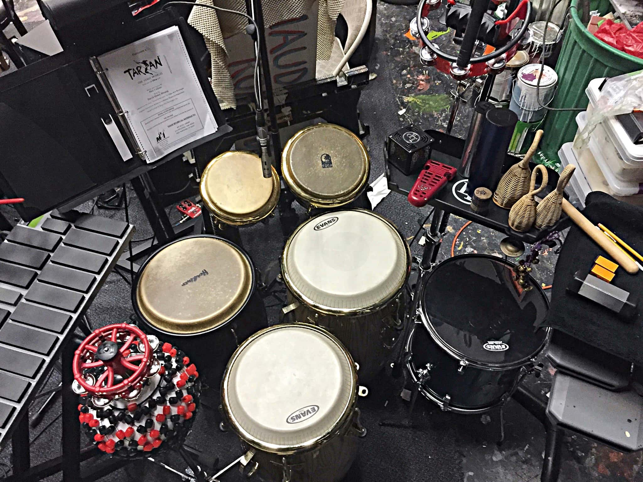 Rob Guilford's combined percussion setup for Tarzan at the White Plains Performing Arts Center in White Plains, New York.