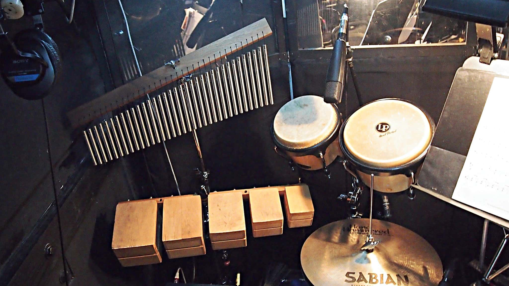 Alec Wilmart's drum set setup for How to Succeed in Business Without Really Trying at the 5th Avenue Theatre in Seattle, Washington.