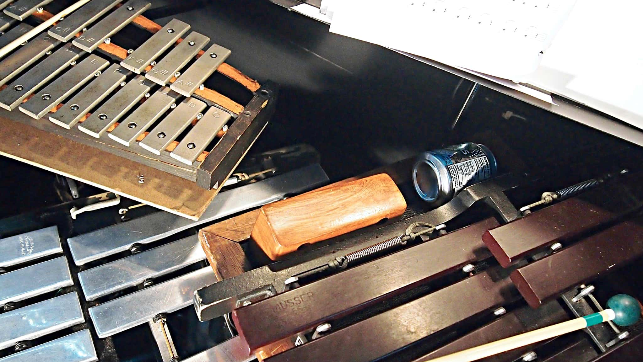 Paul Hansen's percussion setup for How to Succeed in Business Without Really Trying at the 5th Avenue Theatre in Seattle, Washington.