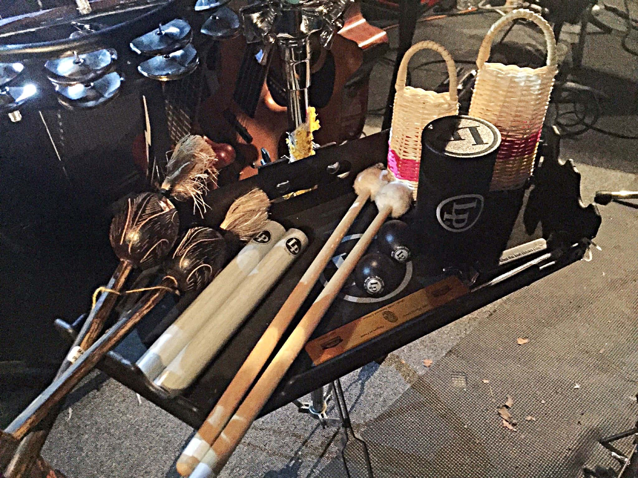 Patrick Lehosky's percussion setup for In the Heights at the CM Performing Arts Center in Oakdale, New York.