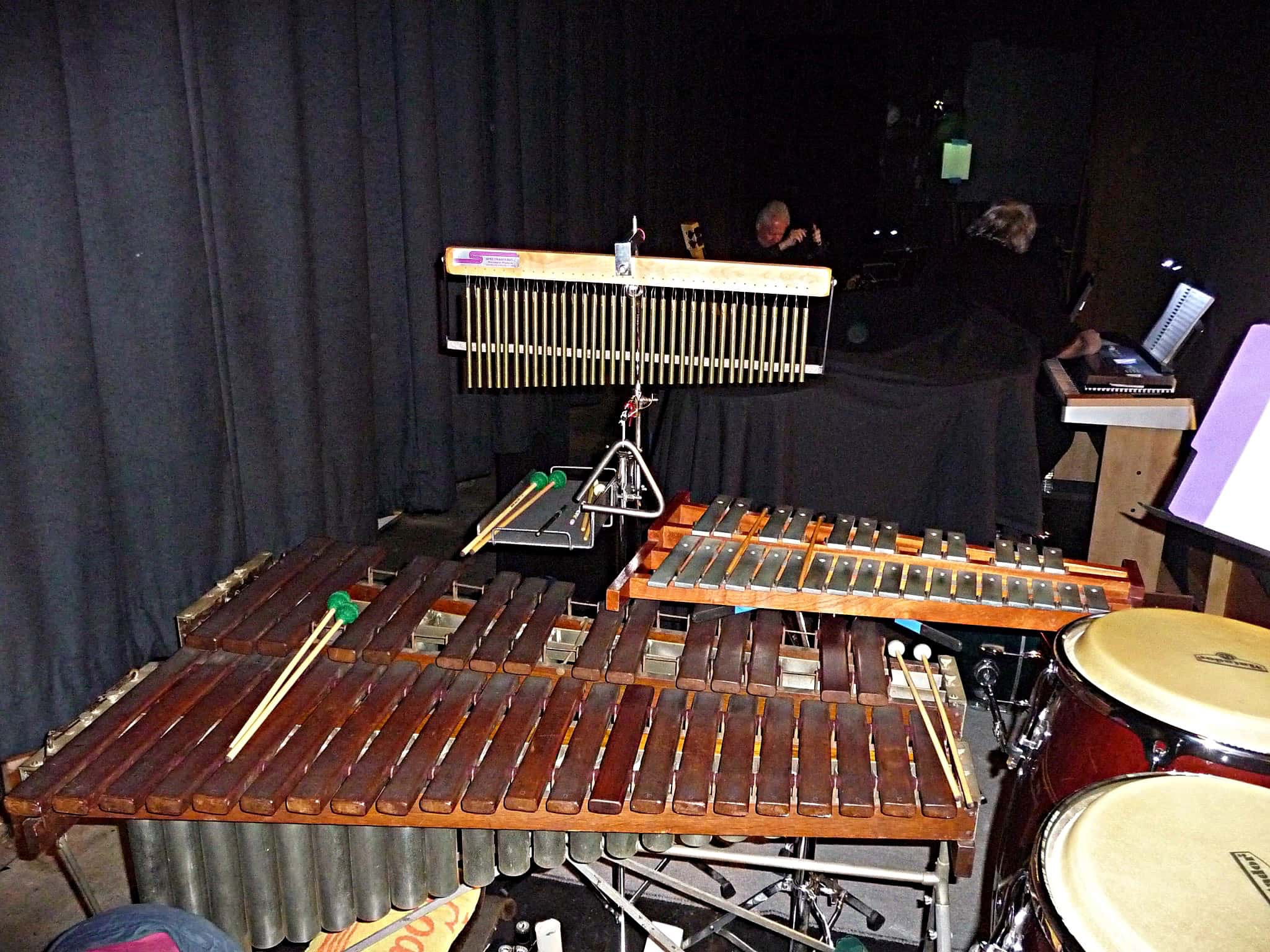 Debbie Minnichelli's percussion setup for Smokey Joe's Cafe at the Stage Door Repertory Theatre in Anaheim, California.