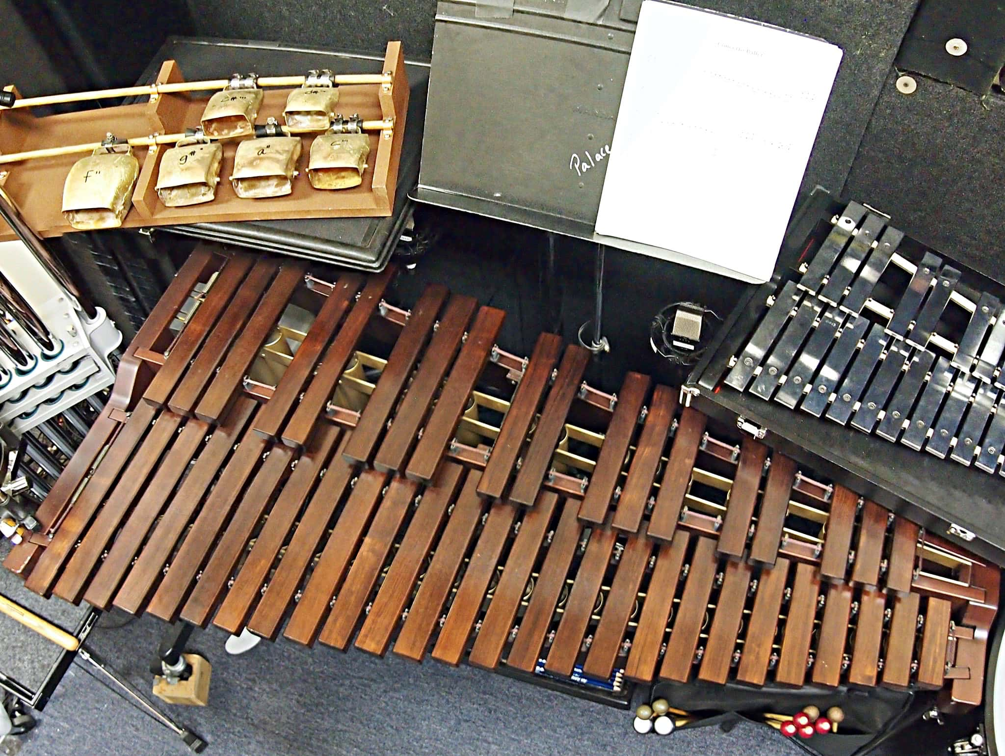 Andy Blanco's percussion setup for the Broadway production of An American in Paris at The Palace Theatre in New York City.