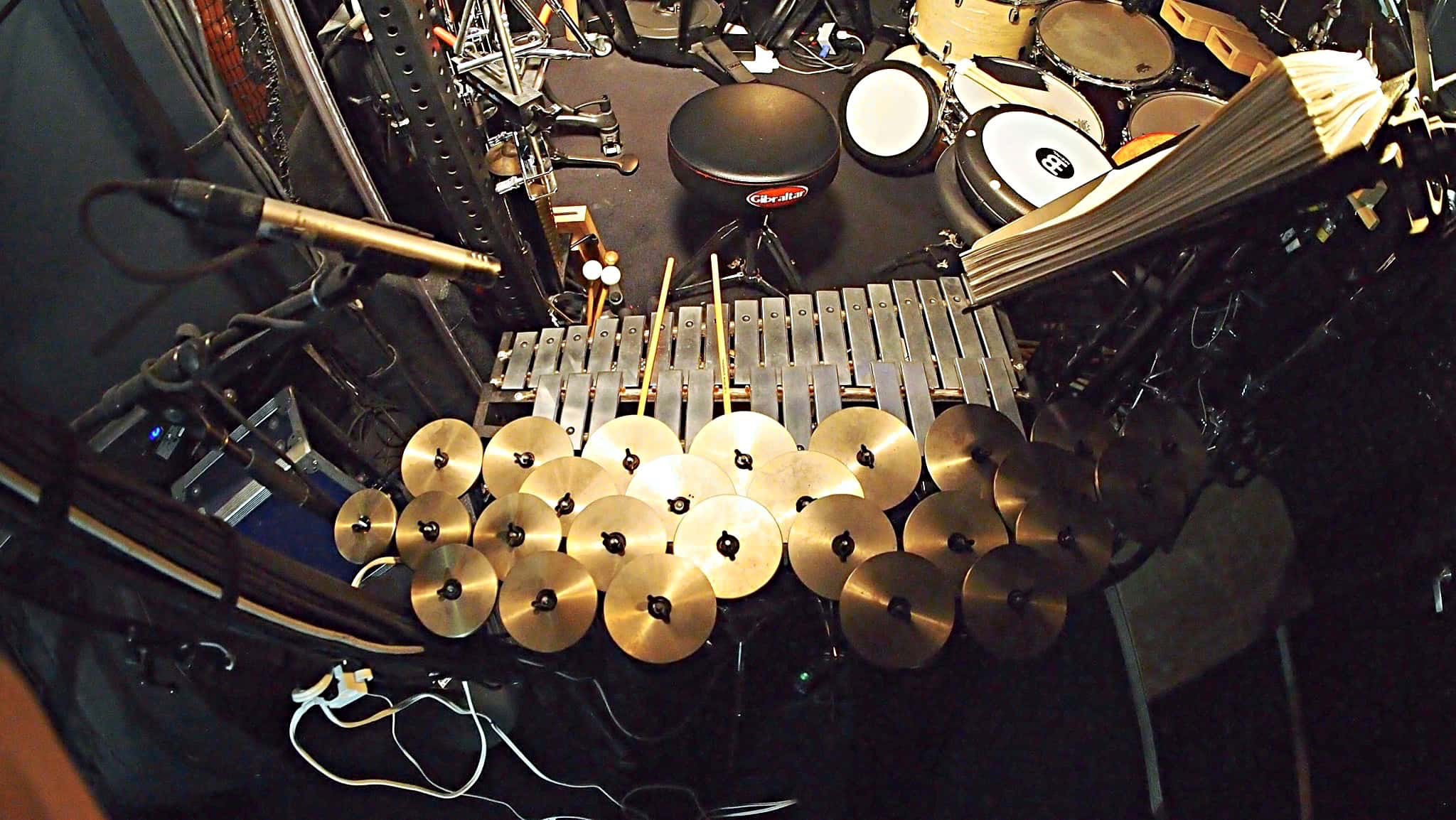 Dave Roth's percussion setup for the Broadway production of Finding Neverland at the Lunt-Fontanne Theatre.