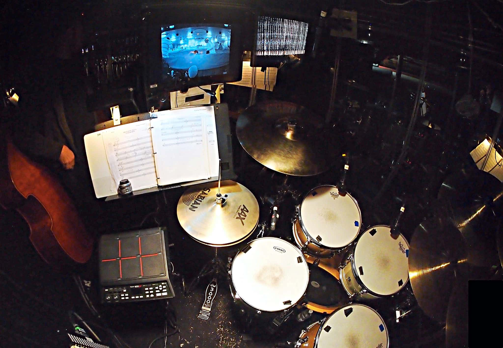 Joe Choroszewski's drum set setup for the Broadway production of Finding Neverland at the Lunt-Fontanne Theatre.