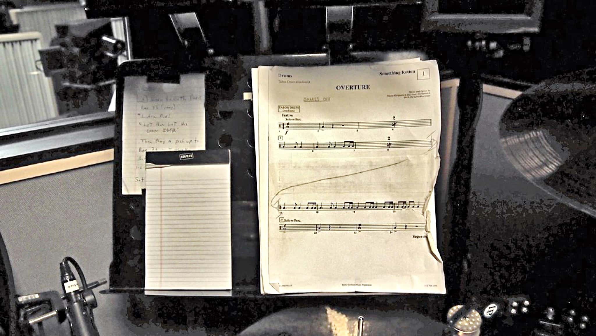 Perry Cavari's drum set setup for the Broadway production of Something Rotten at the St James Theatre.