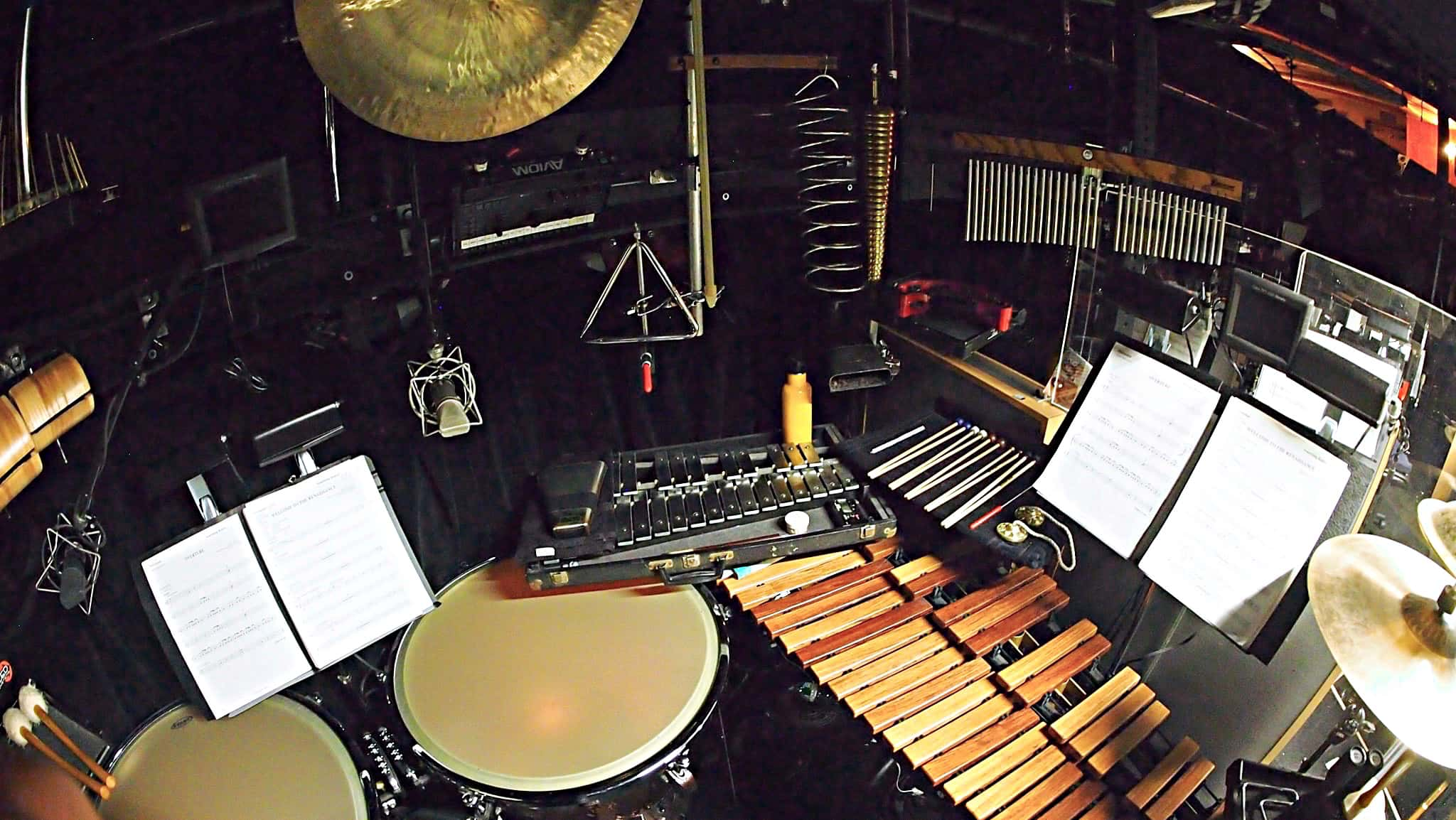 Sean Ritenauer's percussion setup for the Broadway production of Something Rotten at the St James Theatre.