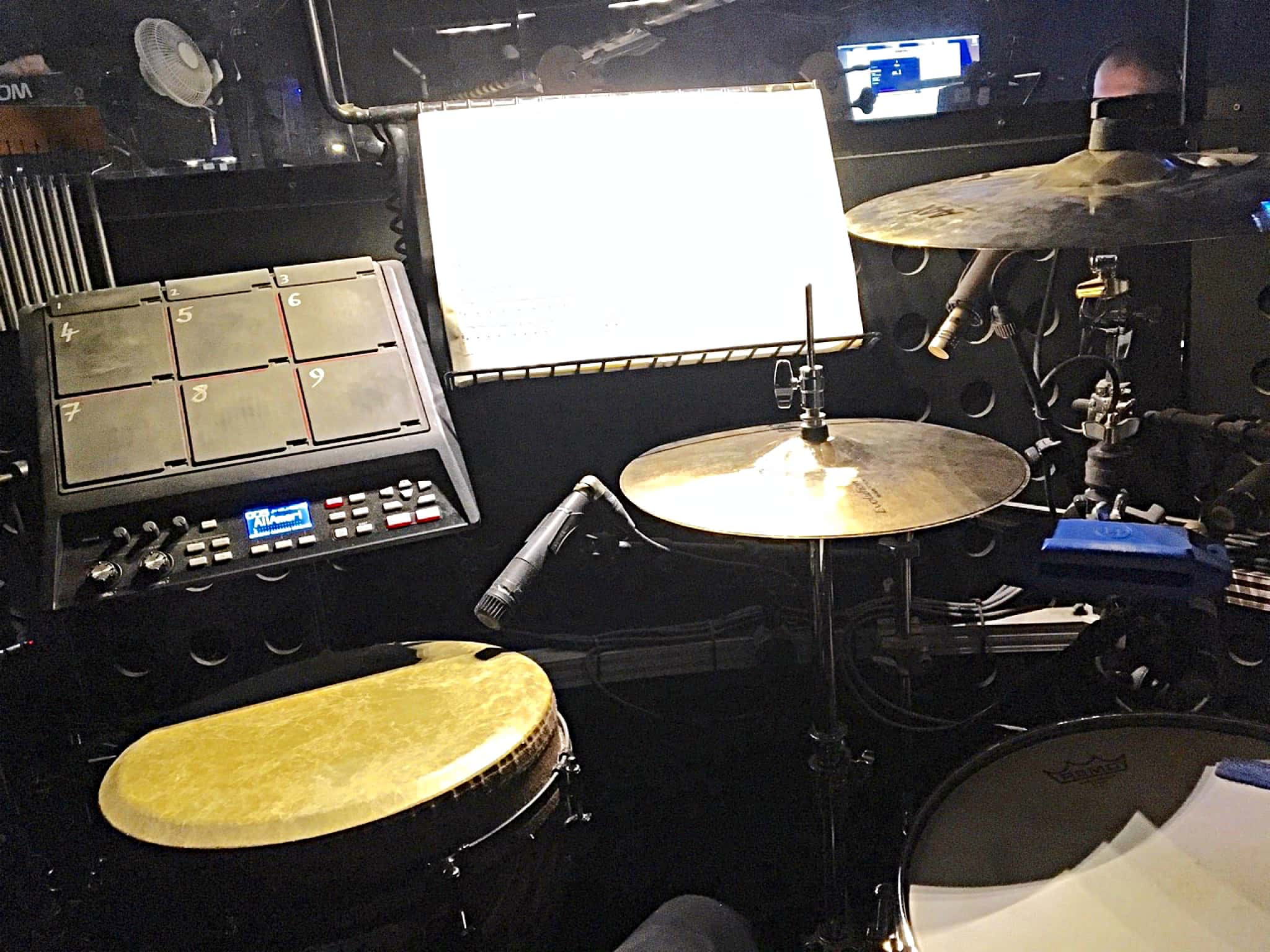 Tim Goodyer's drum set setup for The Book of Mormon at the Prince of Wales Theatre in London's West End.