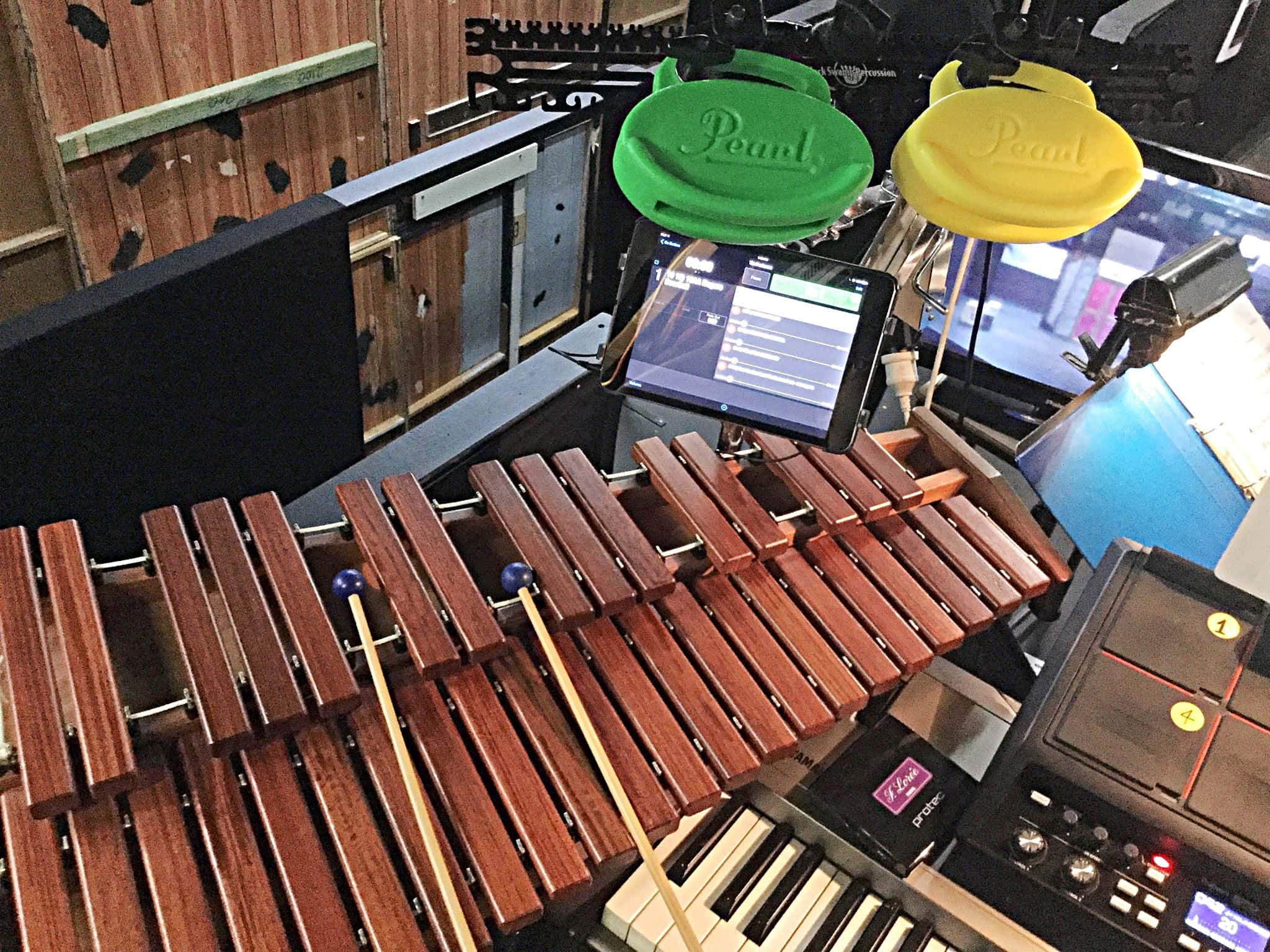 Lindsay Kaul's percussion setup for The Producers at The Players Theater in Port Macquarie in New South Wales, Australia.