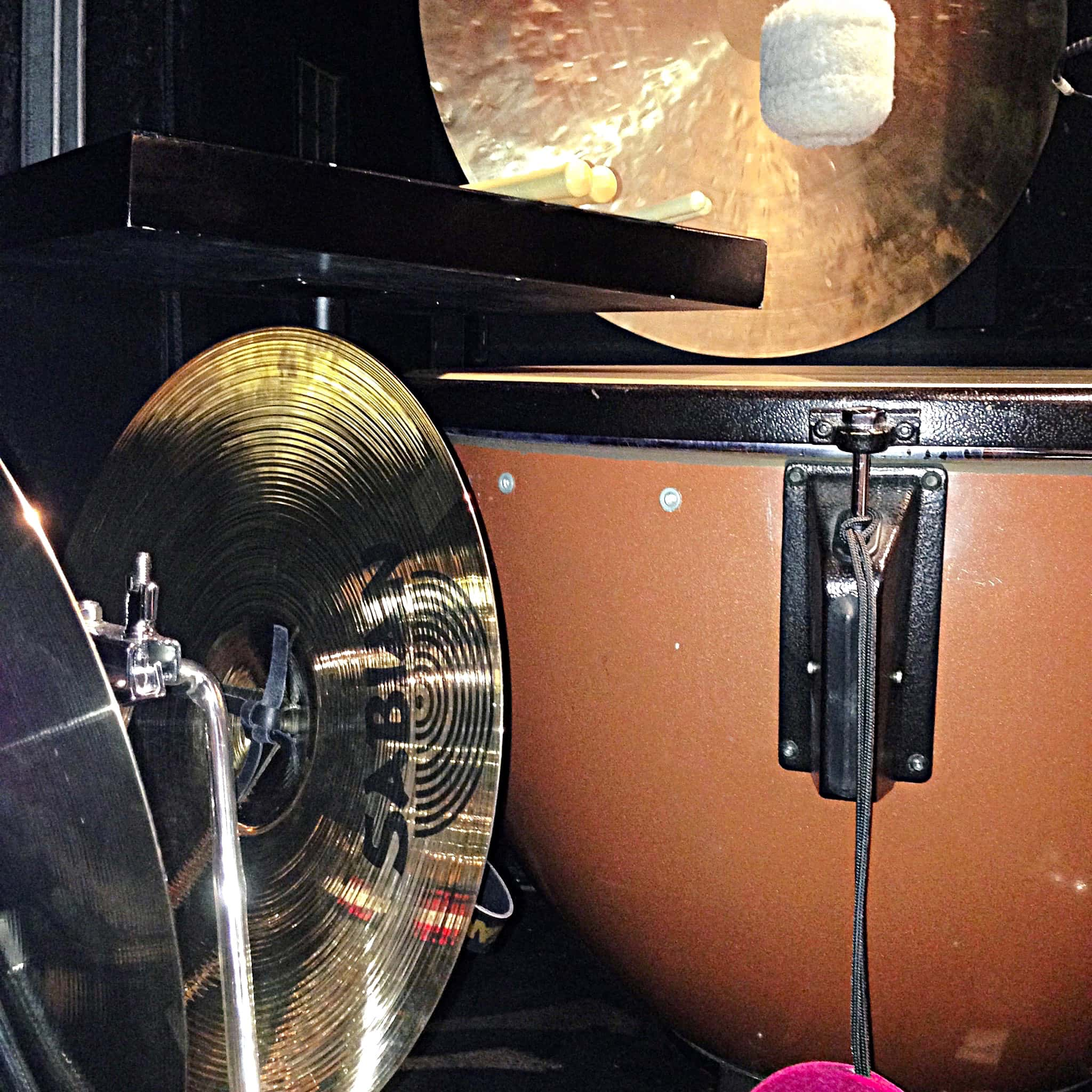 Shan Chana's percussion setup for Aladdin at the Prince of Wales Theatre in London's West End.