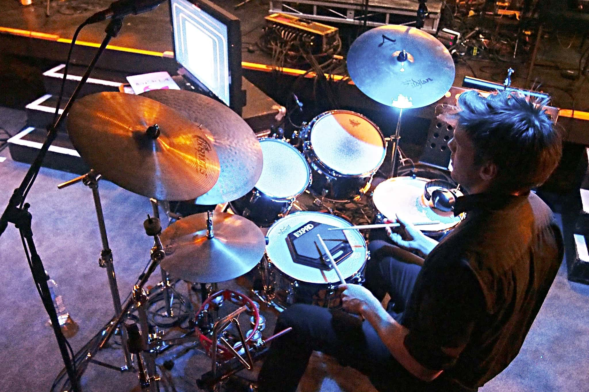 Tim Sellars' drum set setup for Hairspray at the Isaac Theatre Royal in Christchurch, New Zealand, for Showbiz Christchurch.