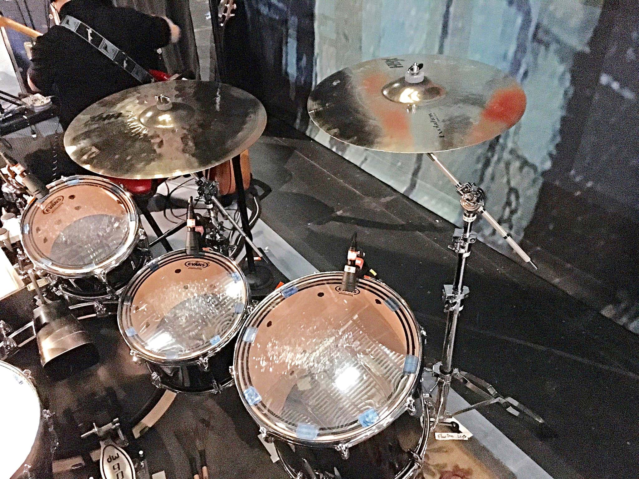 Brett Beirsdorfer's drum set setup for the National Tour of Fame at the Eisenhower Hall Theatre in West Point, New York.