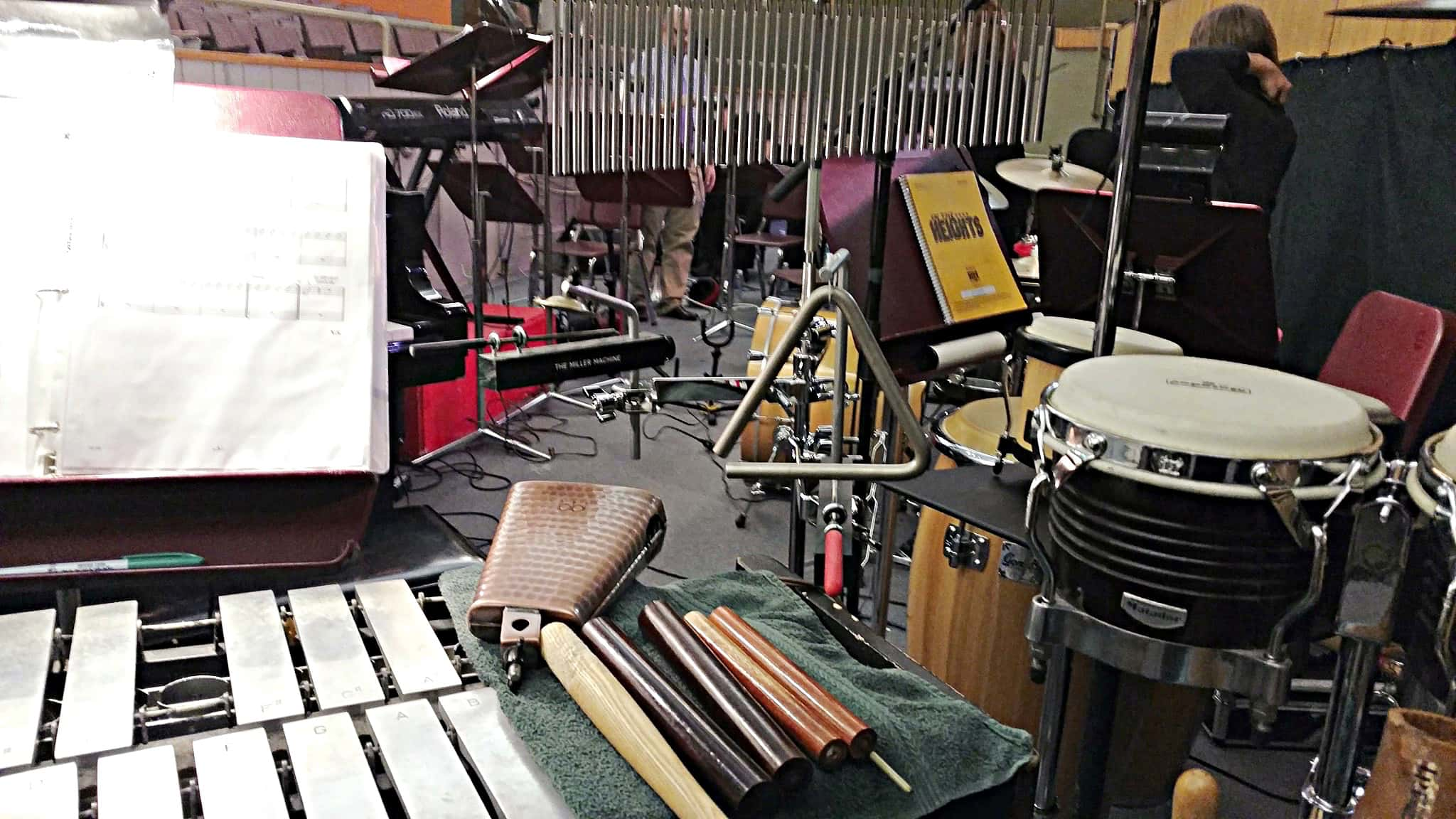 Angel Williams' percussion setup for In The Heights at the Judge Memorial High School in Salt Lake City, Utah.