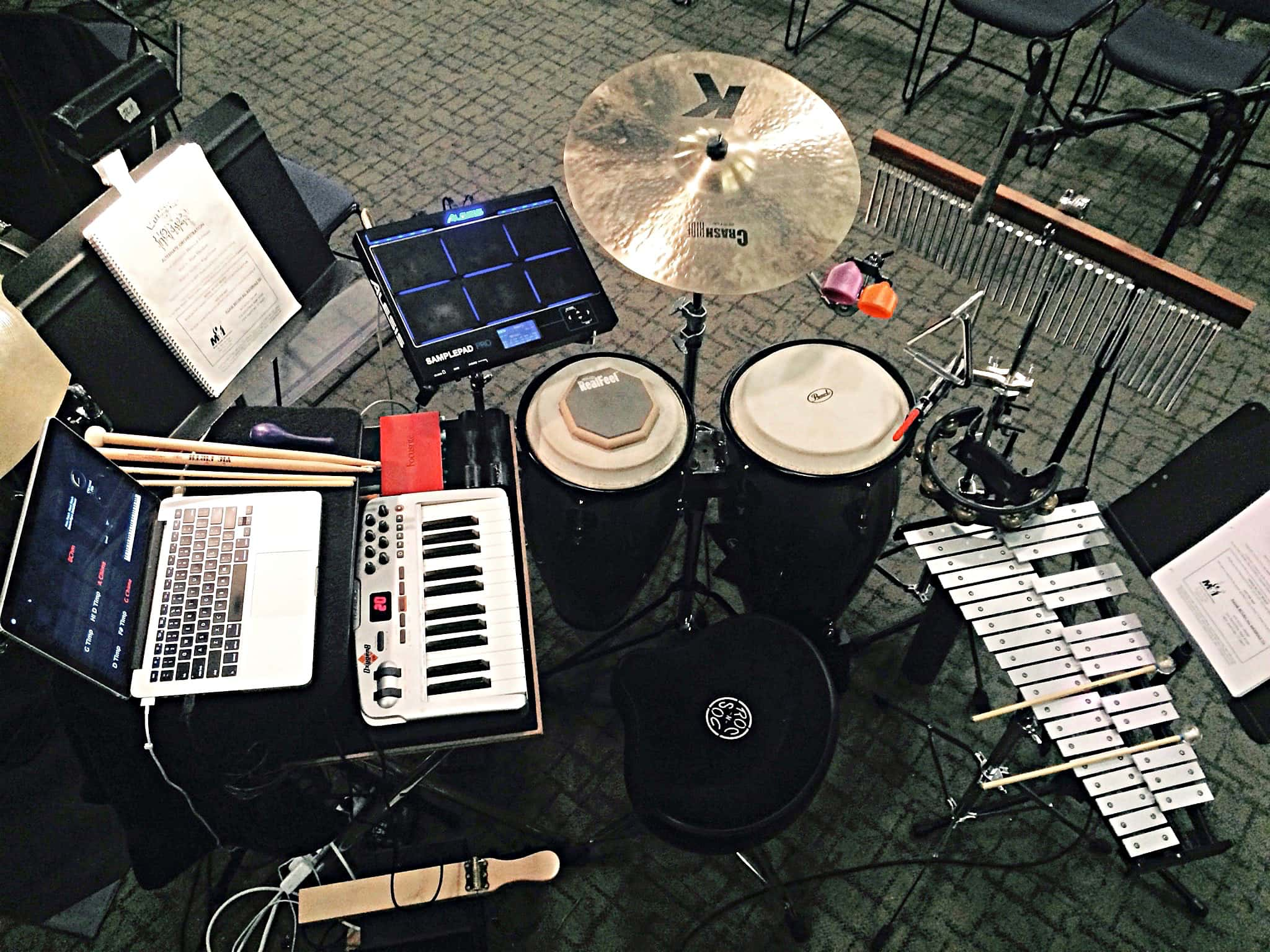 Skyler Fortgang's percussion setup for Little Shop of Horrors at The Livingston Theater Company at Rutgers University in New Brunswick, New Jersey.