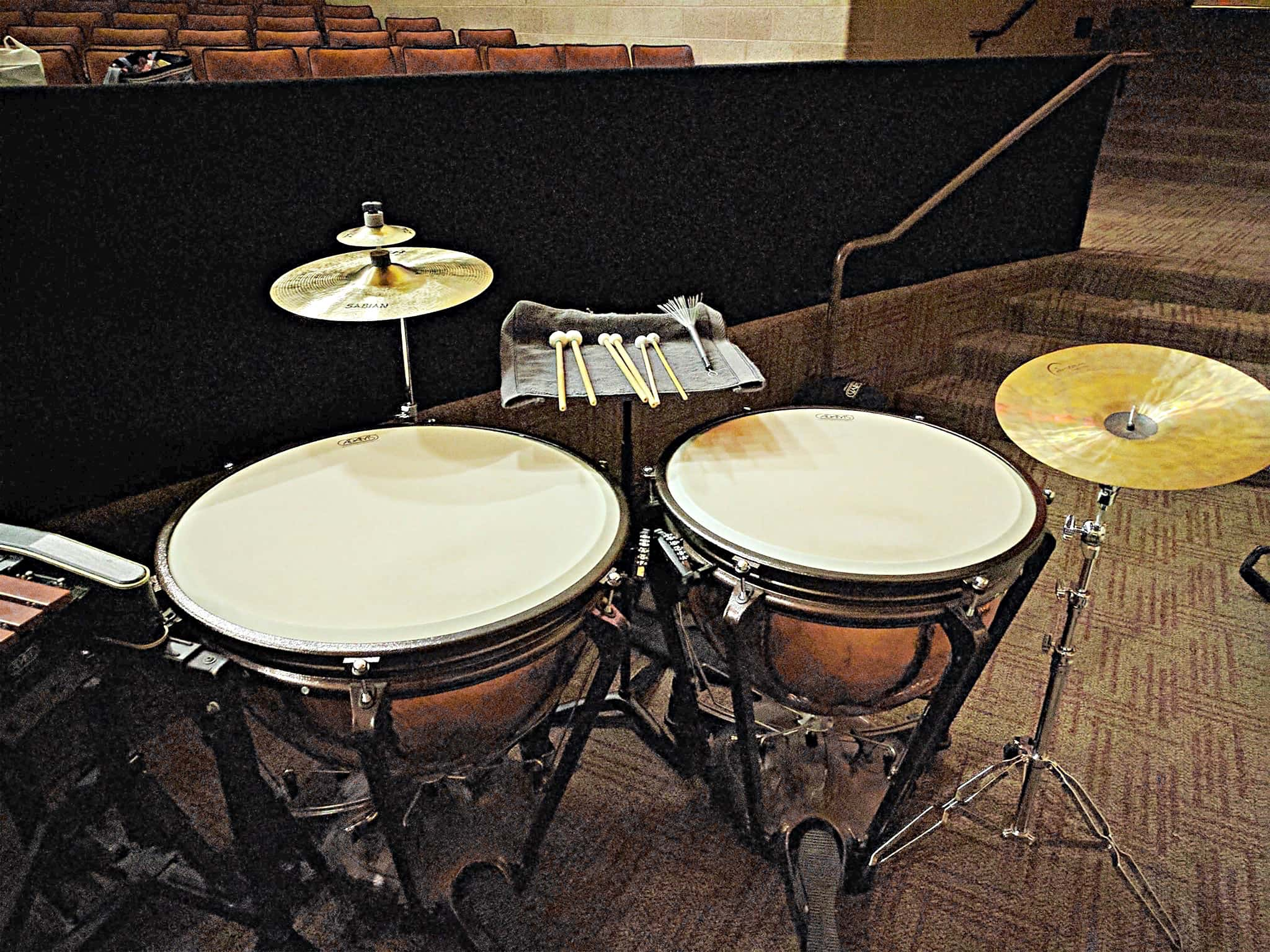 Michael Dooley's percussion setup for Pippin at Heritage High School in Frisco, Texas. This is the 2006 MTI version.