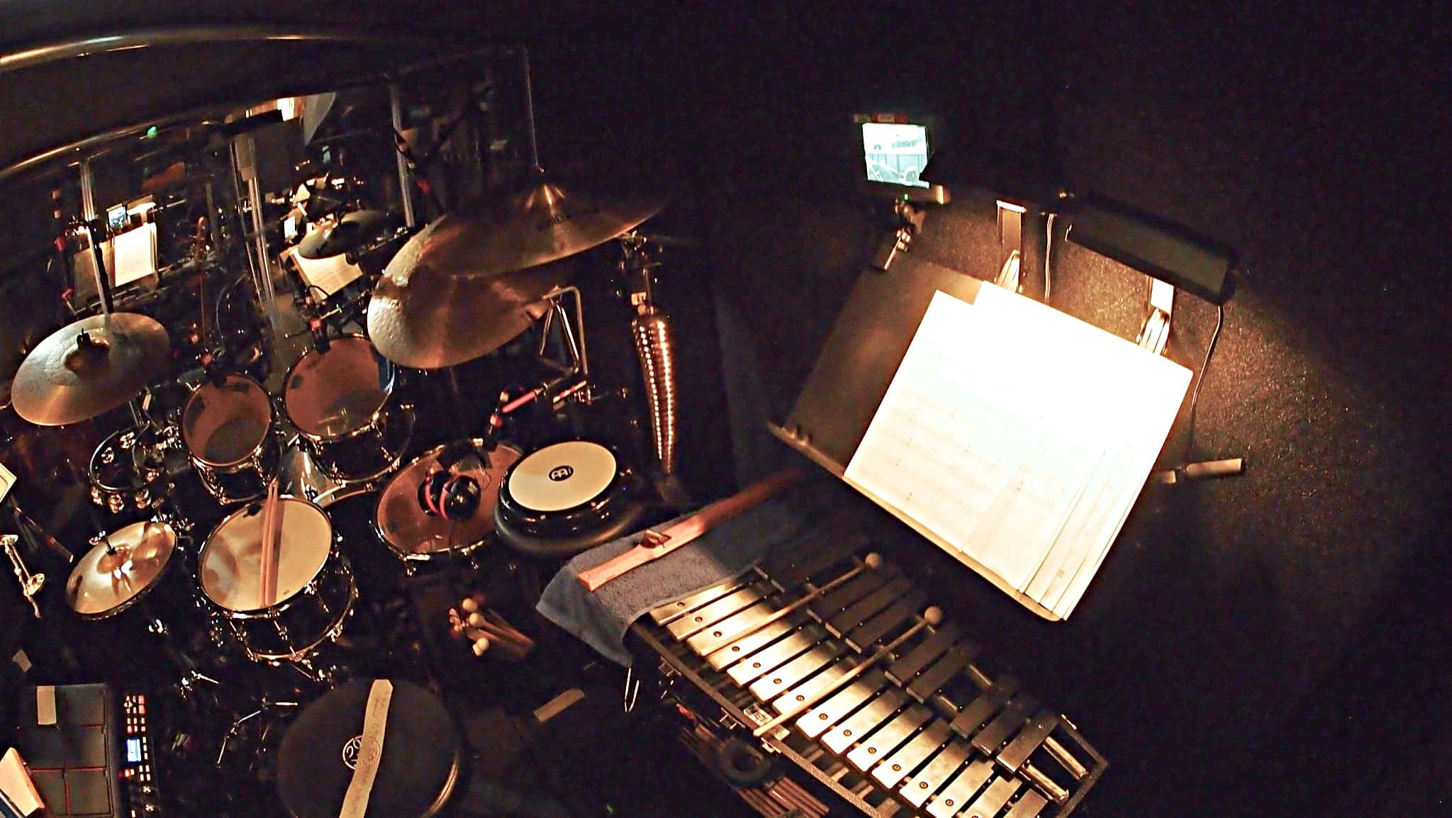 Greg Germann's combined book setup for the National tour of the Broadway show Finding Neverland at the Paramount Theatre in Seattle, Washington.