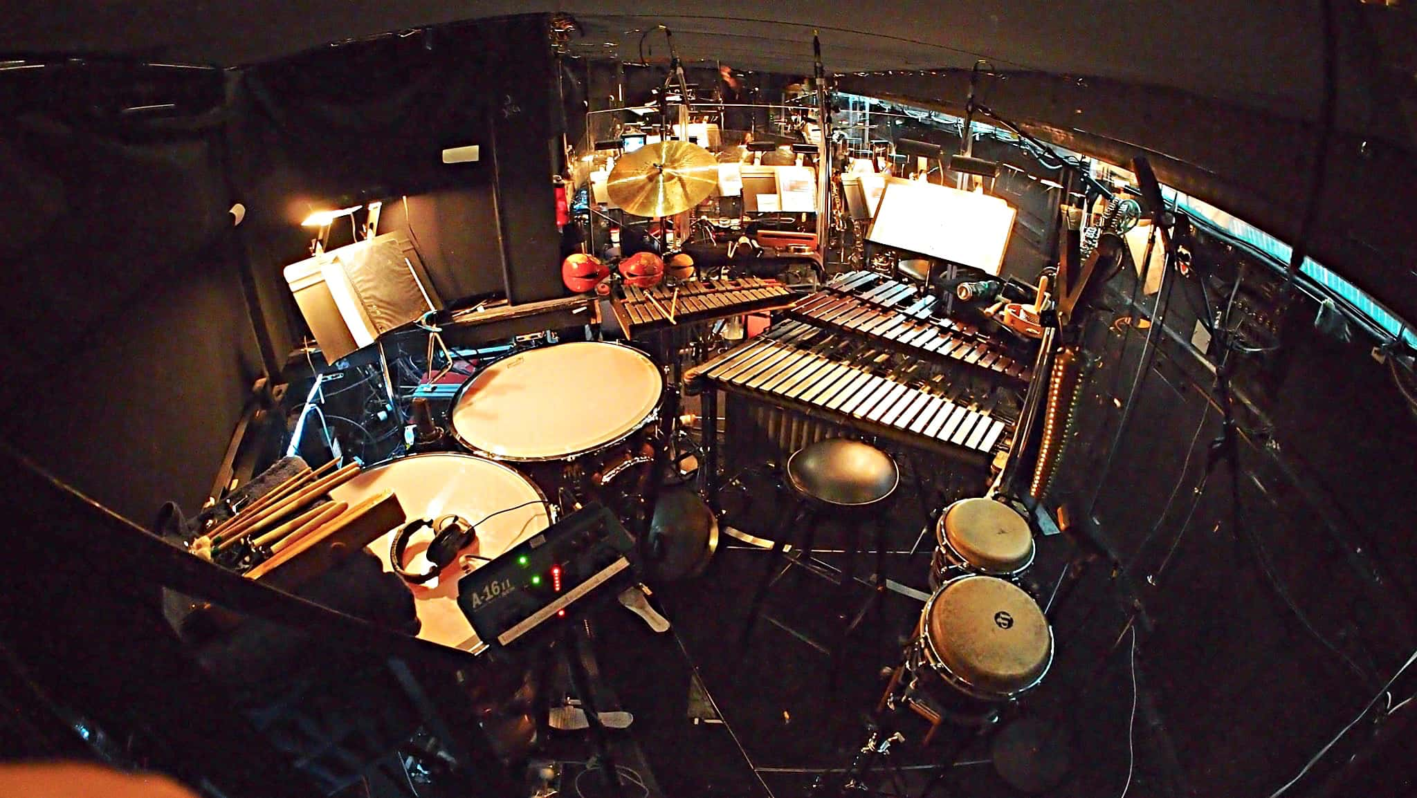 Paul Hansen's percussion setup for Pajama Game at the 5th Avenue Theatre in Seattle, Washington.