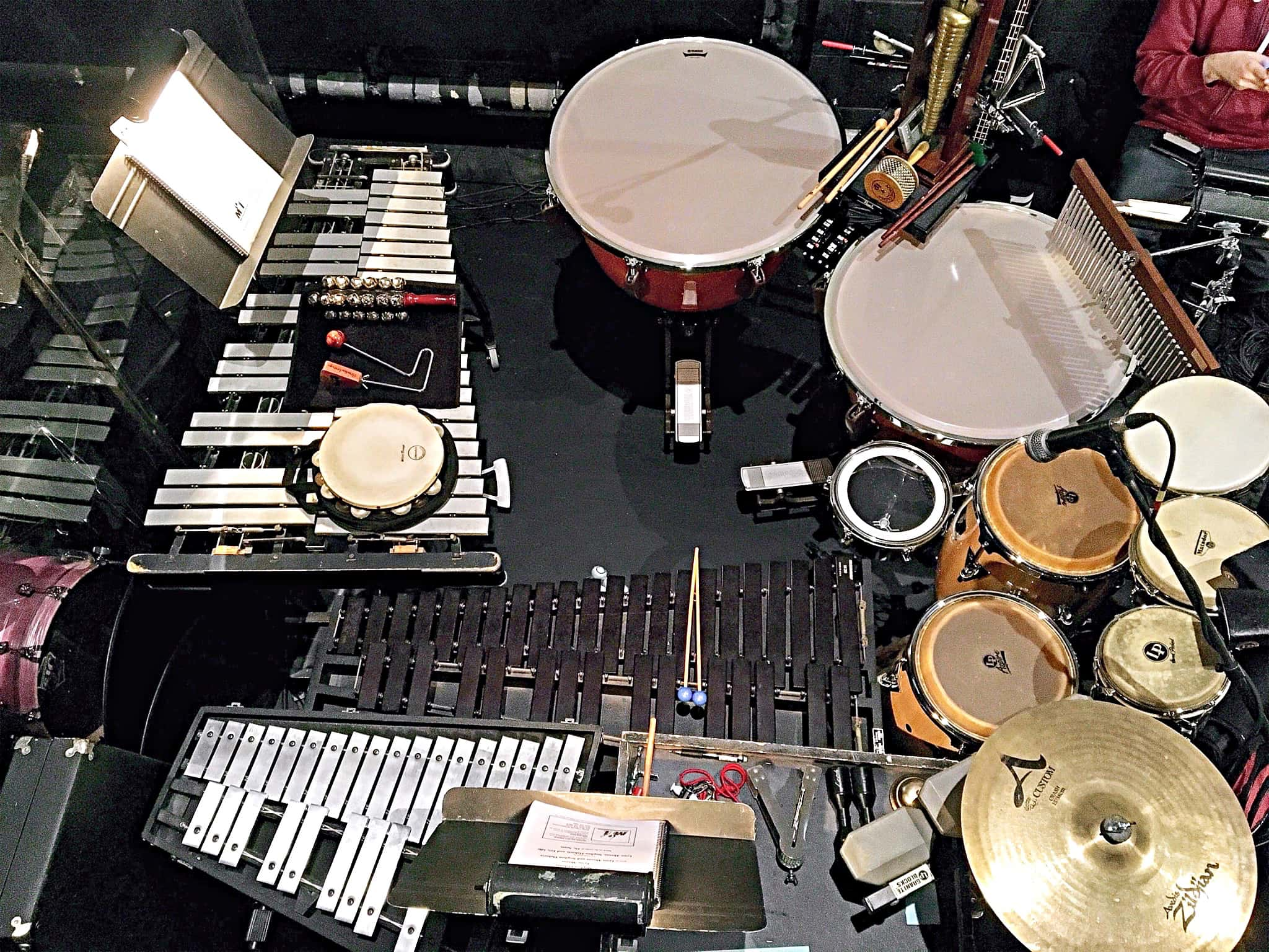 Brandon Levesque's percussion setup for Rhode Island College's production of Seussical.