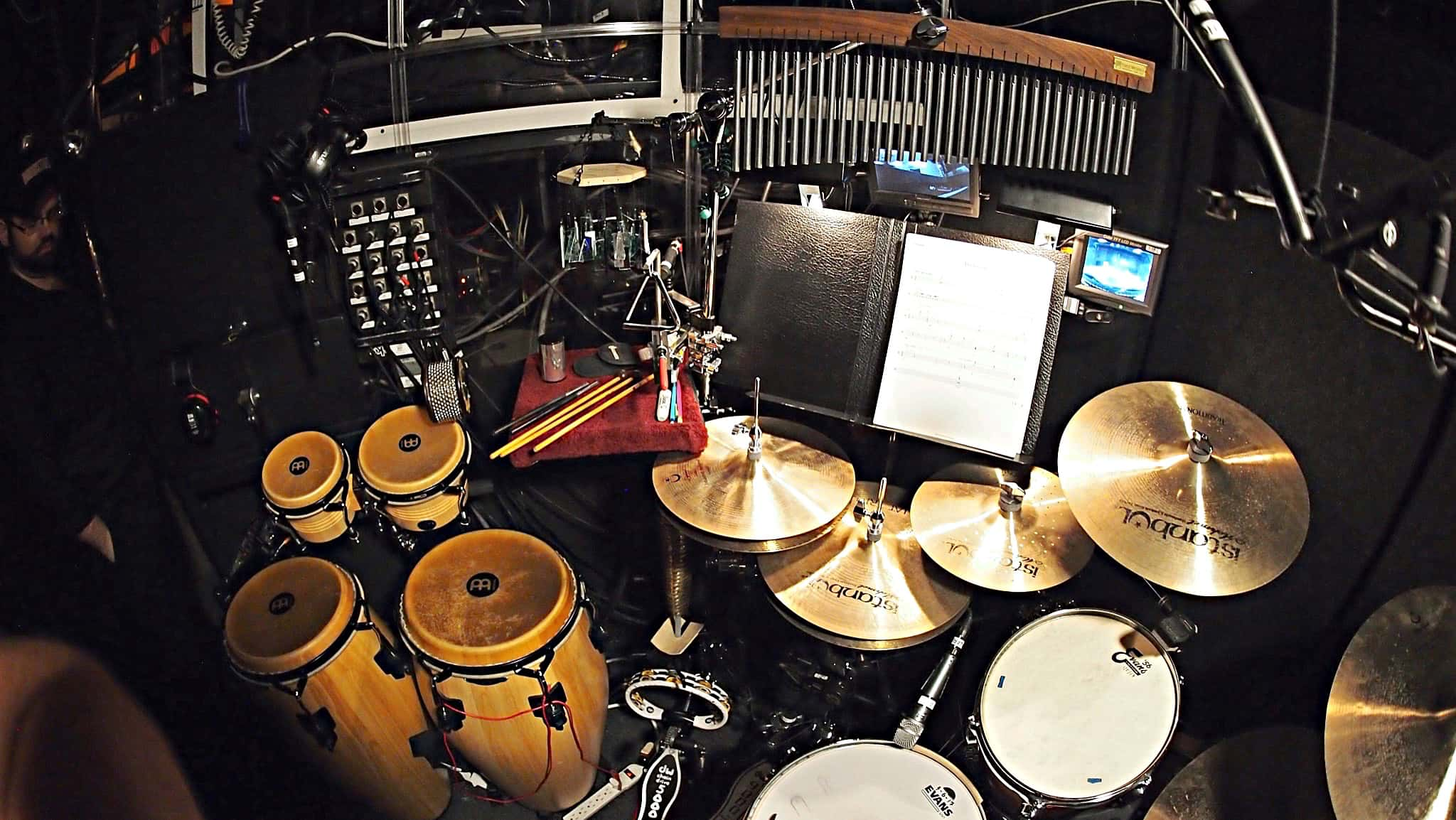 Adam Wolfe's setup for the Broadway production of Bandstand currently running at Bernard B Jacobs Theatre in New York City.