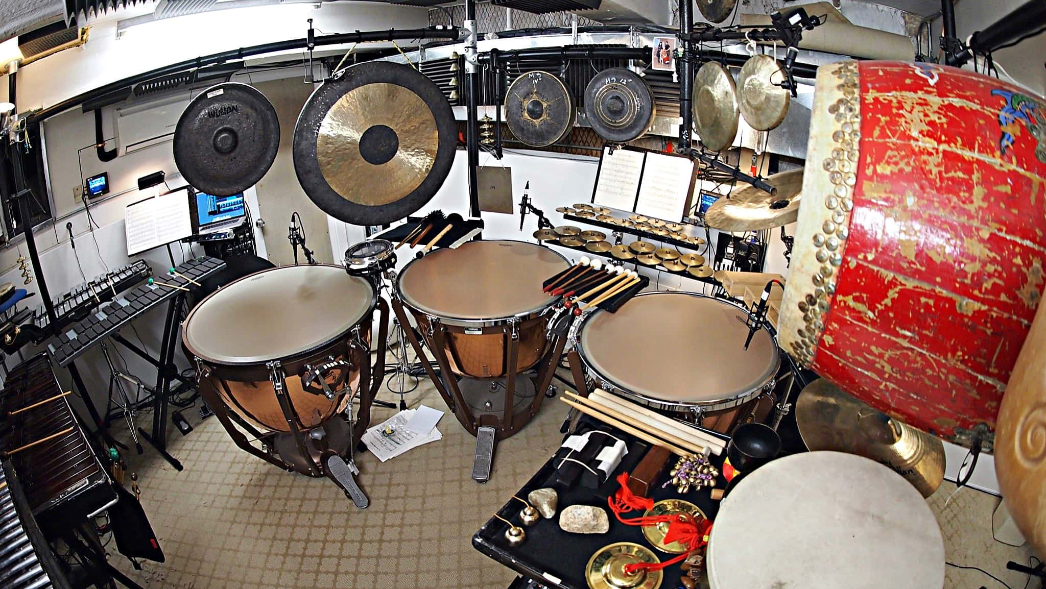 Chihiro Shibayama's percussion setup for the 2017-2018 Broadway revival of Miss Saigon at the Broadway Theatre.