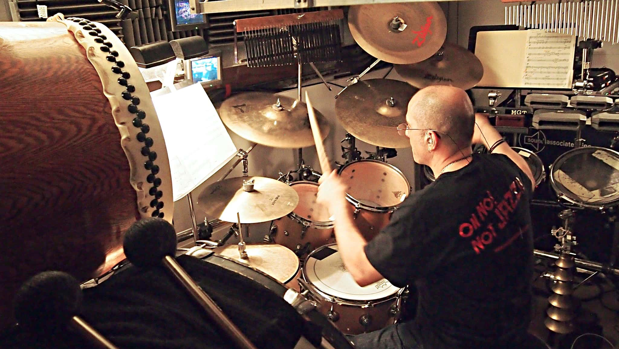 Ray Marchica's drum set setup for the 2017-2018 Broadway revival of Miss Saigon at the Broadway Theatre.