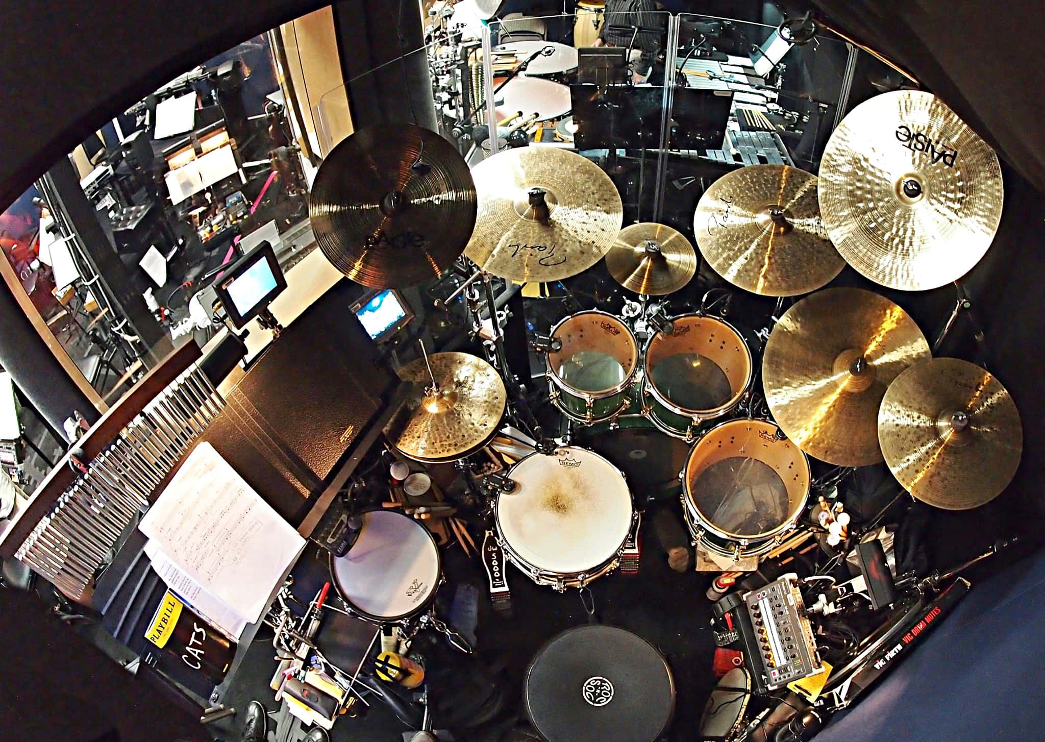 Bill Lanham's drum set setup for the Broadway revival of Cats at the Neil Simon Theatre.