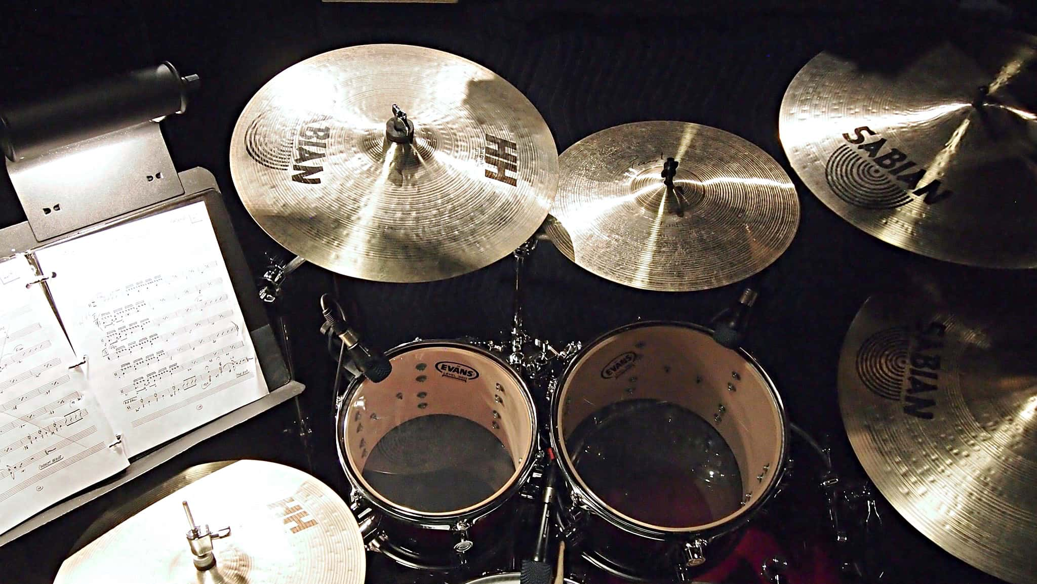 Jim Reif's drum set setup for Dreamgirls at the Village Theater in Seattle, Washington.