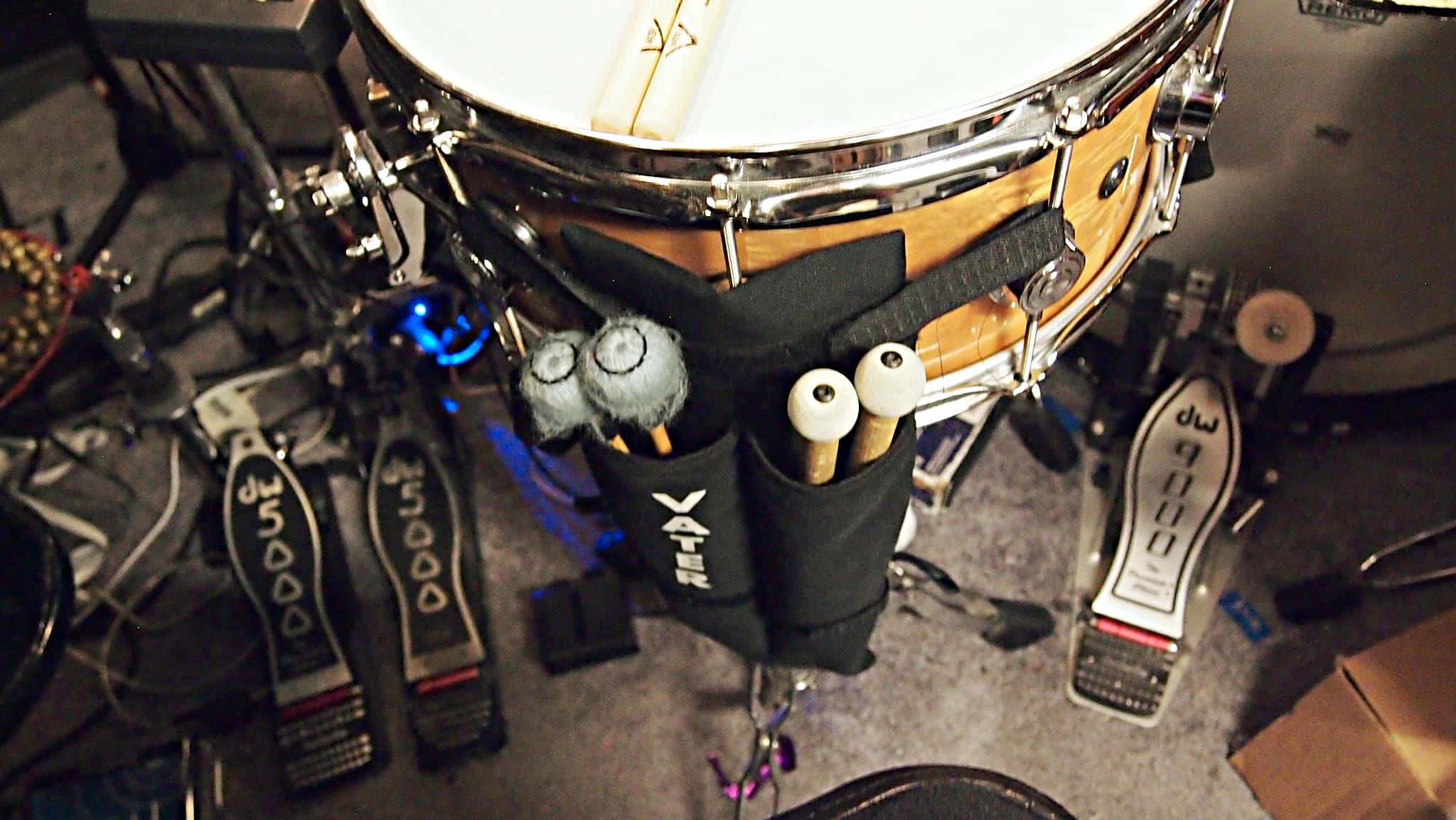 Danny Taylor's drum set setup for the North American tour of Aladdin at the Paramount Theatre in Seattle, Washington.