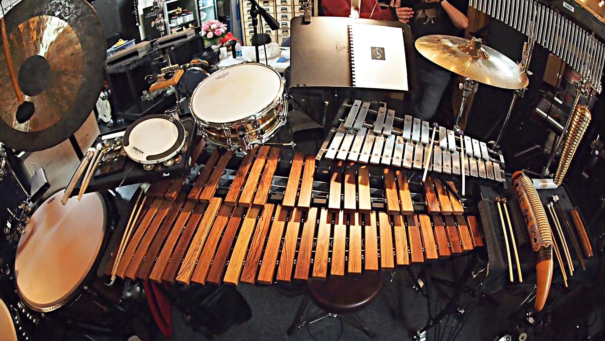 Joshua Mark Samuels' percussion setup for the North American tour of Aladdin at the Paramount Theatre in Seattle, Washington.