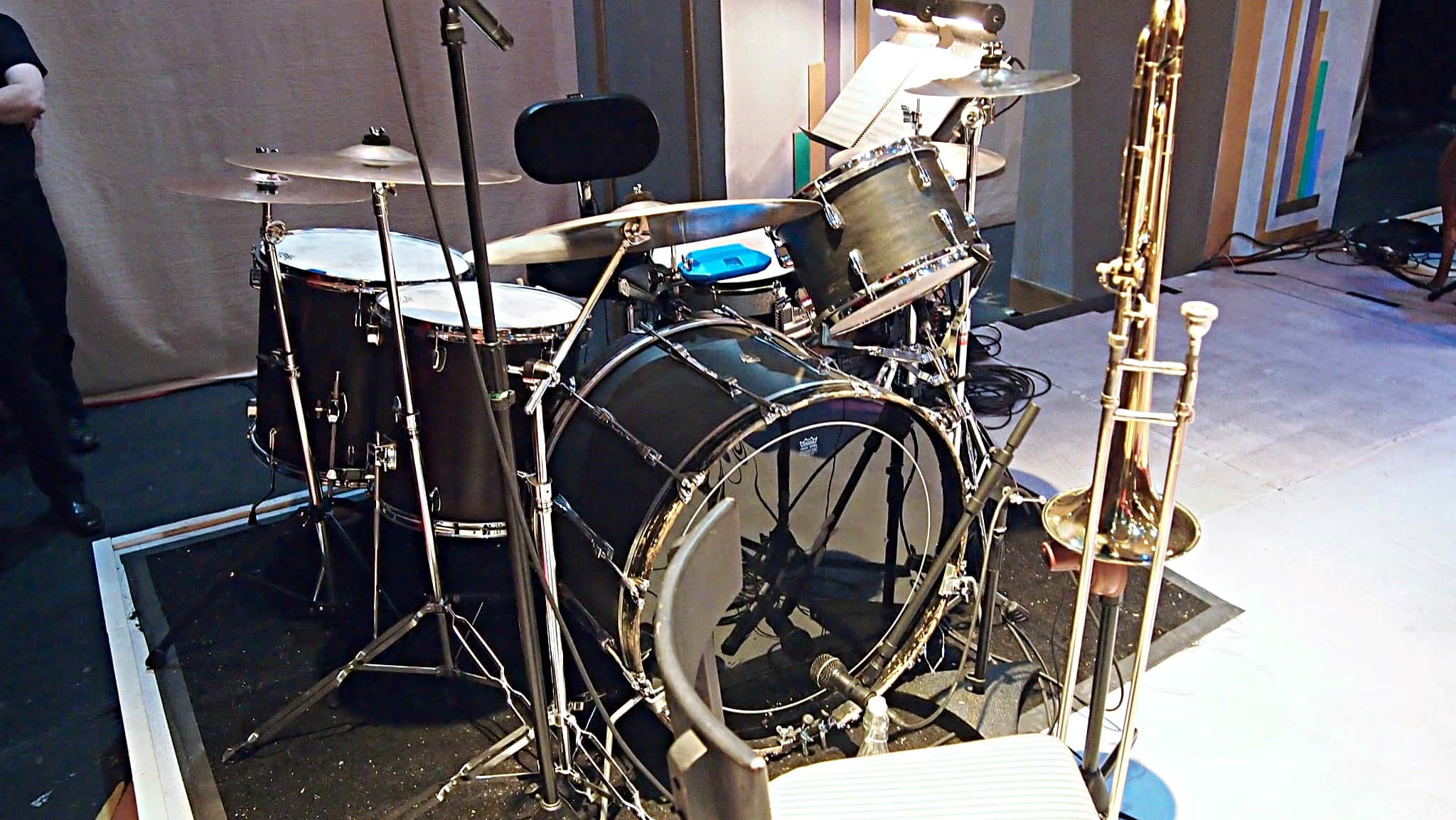 Scot Sexton's drum set setup for the Seattle Musical Theater's production of Ain't Misbehavin' in Seattle, Washington.