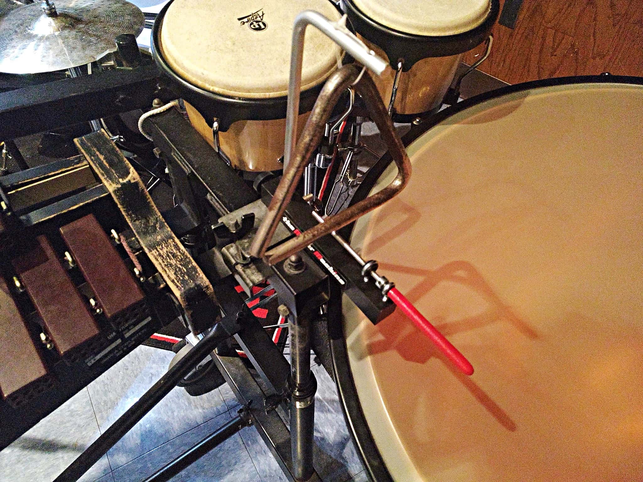 Will Marinelli's percussion setup for the Hightstown High School's production of Pippin in Hightstown, New Jersey.