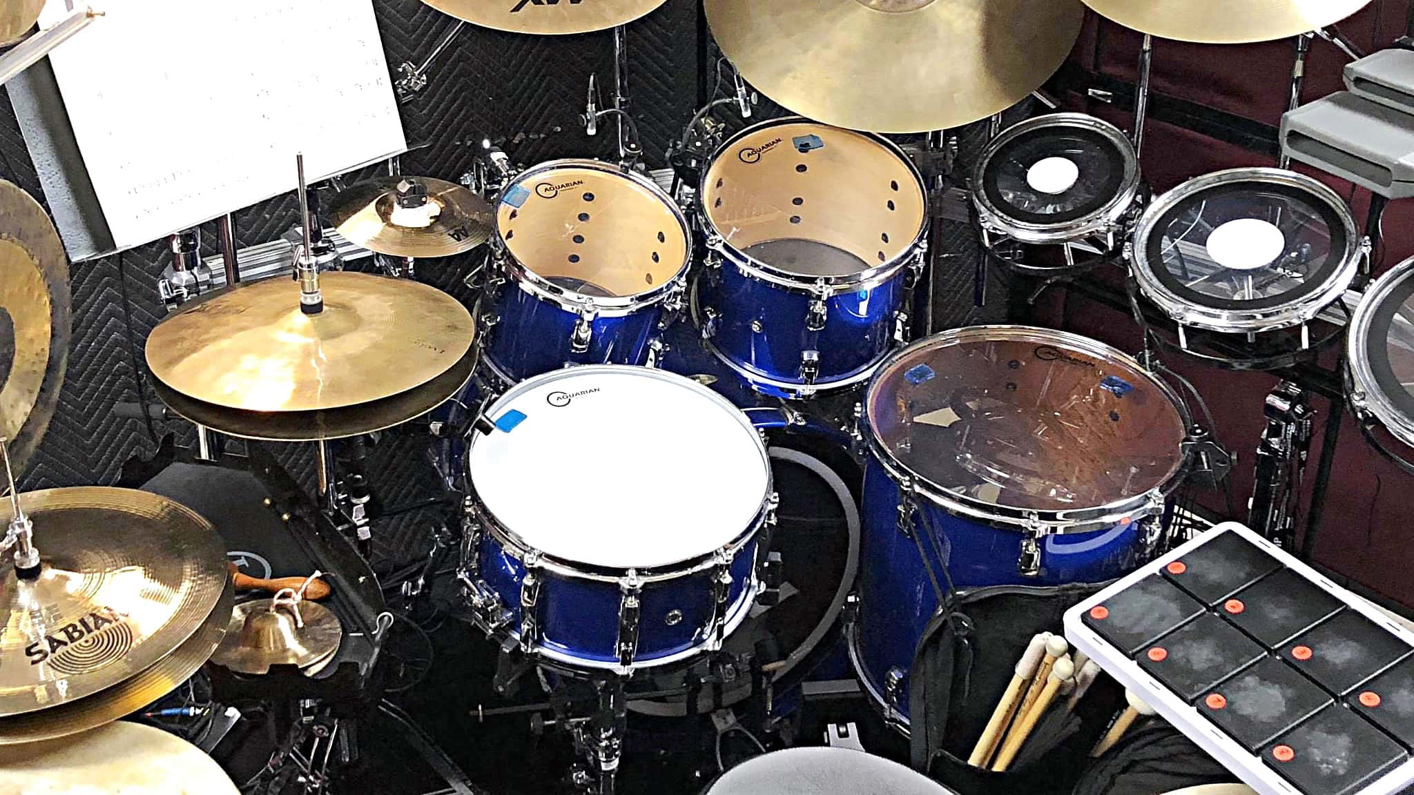 """Photo above: Sabian 14"""" AA Mini Chinese Hats (to the left of regular hats) are used on 'The Morning of the Dragon'."""""""
