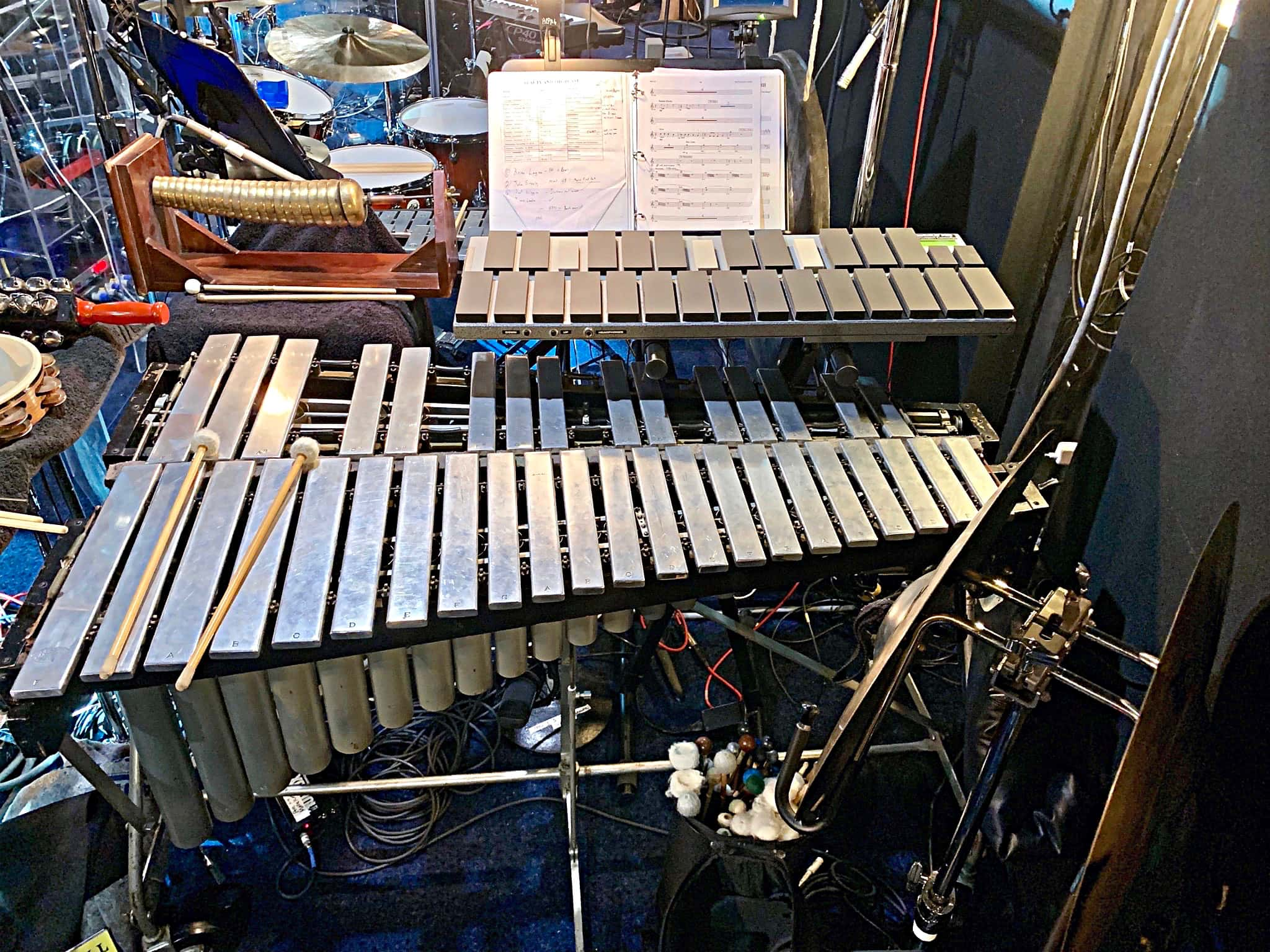 Luke Hubley's percussion setup for Beauty and the Beast at Theater Under The Stars in Houston Texas.
