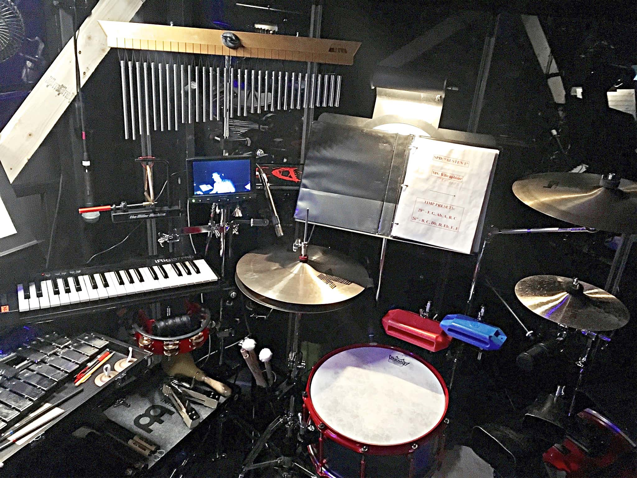 Dennis J Arcano's setup for Austen's Pride, a new musical of Pride and Prejudice at ACT in Ridgefield, Connecticut.