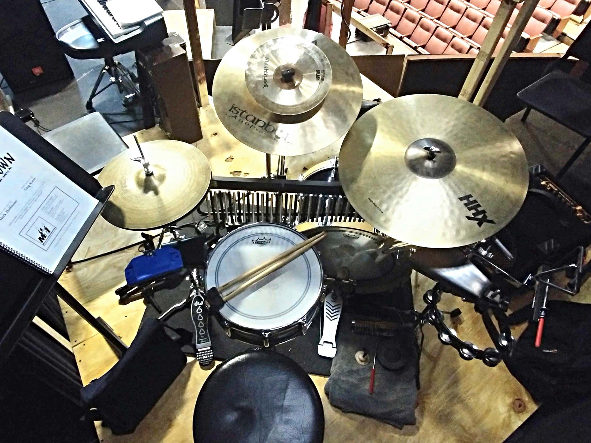 Eli Maniscalco's setup for Urinetown at the YMCA Boulton Center for the Performing Arts in Bay Shore, New York.