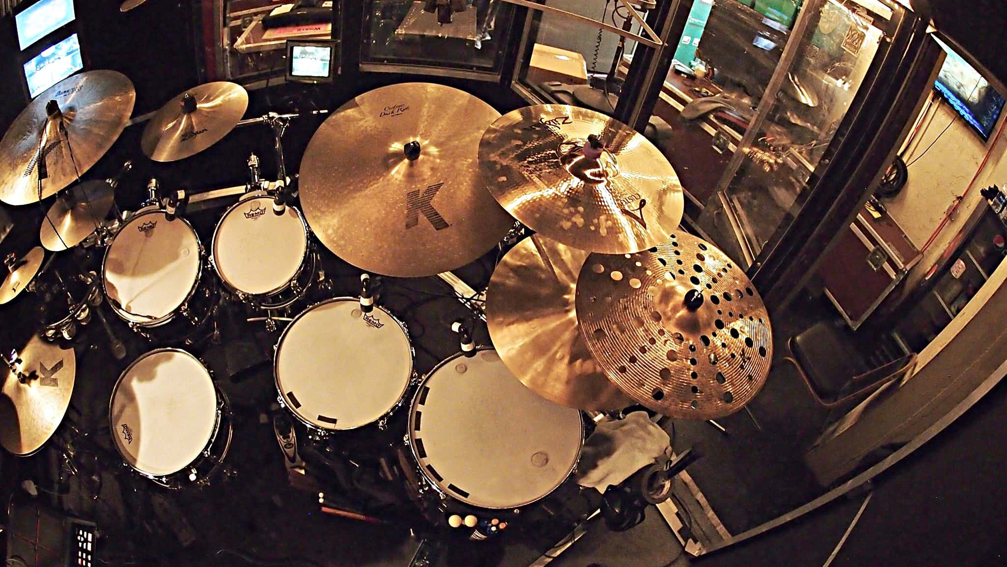 Tim Mulligan's drum set setup for the National Tour of Wicked at the Paramount Theater in Seattle, Washington.