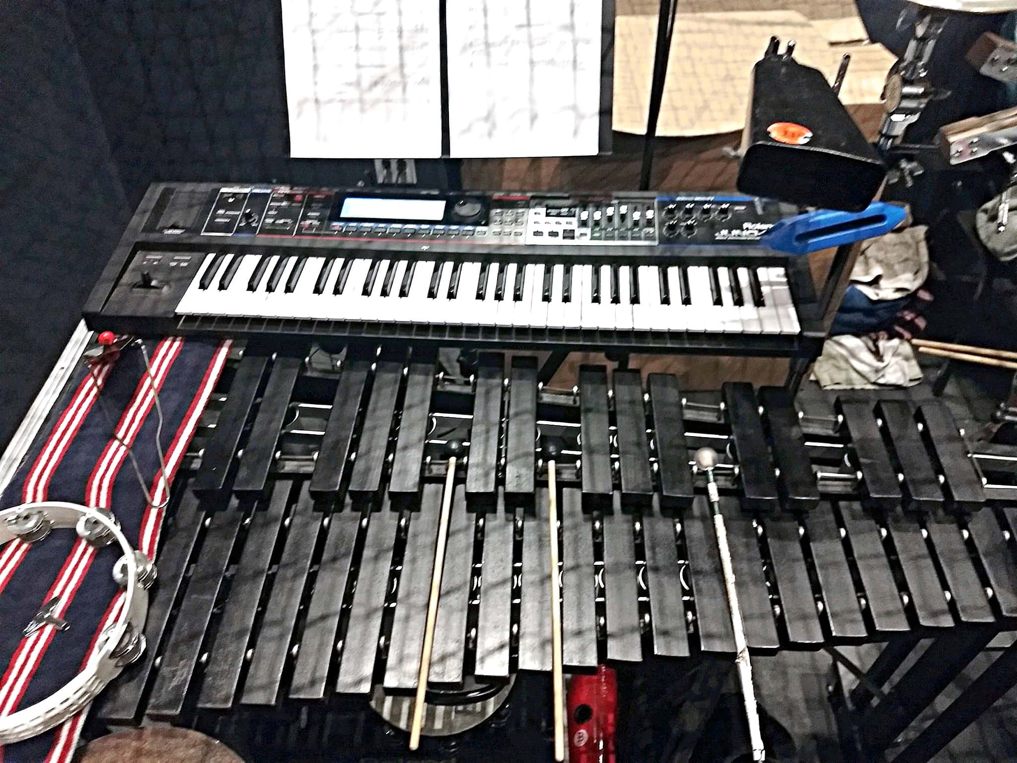 Rex Lycan's percussion setup for The Little Mermaid at the Howard Brubeck Theatre in San Marcos, California.