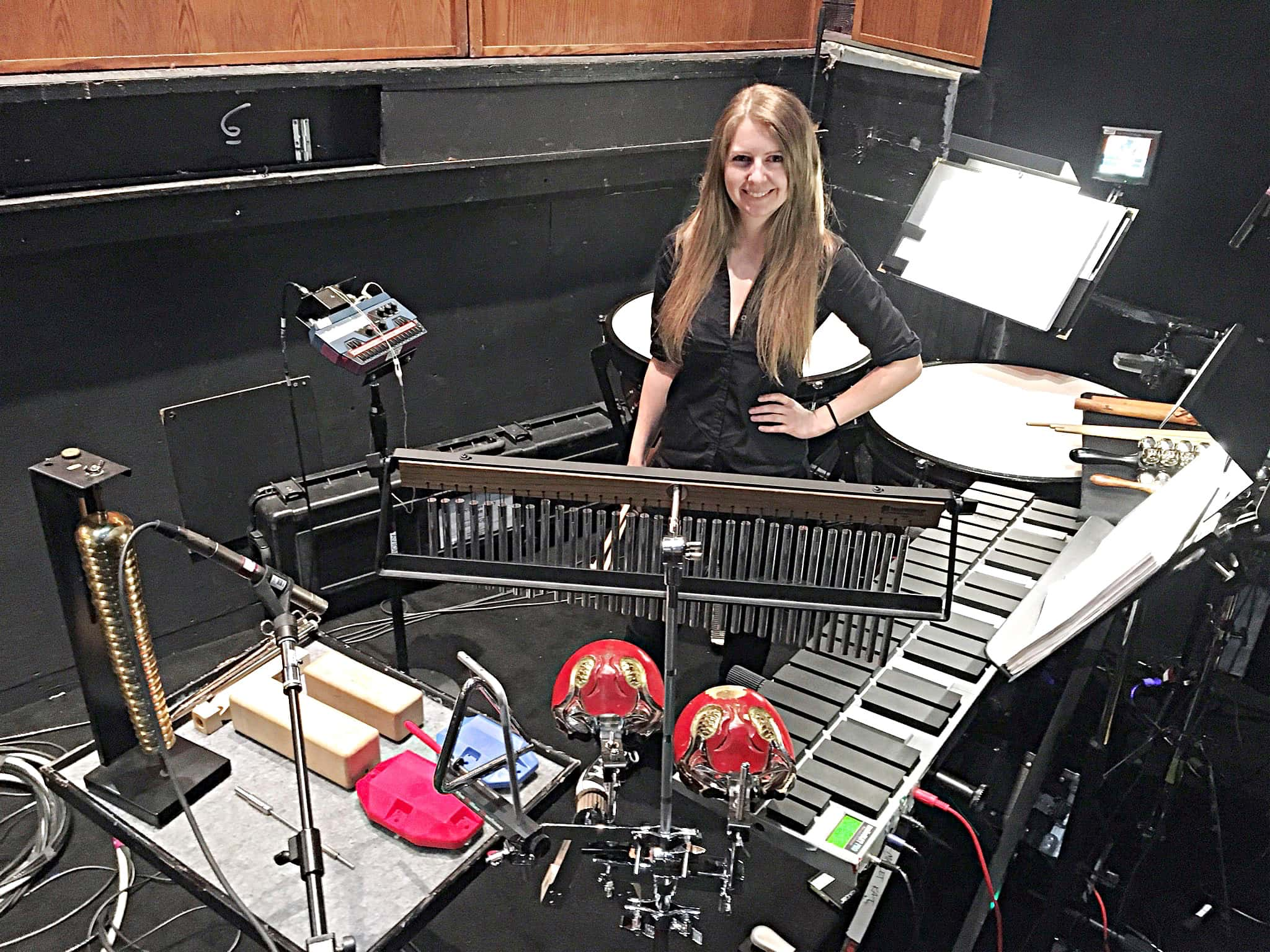 Laura Hamel's percussion setup for the National Tour of A Christmas Story at the McCallum Theatre in Palm Desert, California.