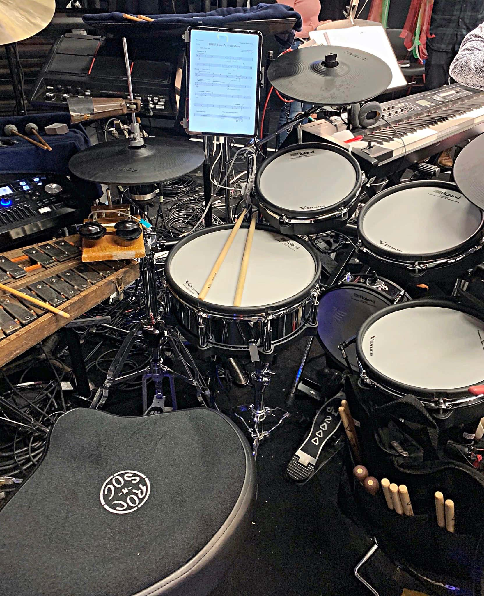 Jon Berger's setup for the 2020 Off-Broadway Premier of Romeo & Bernadette: A Musical Tale of Verona and Brooklyn at A.R.T./New York Theatres in New York City.
