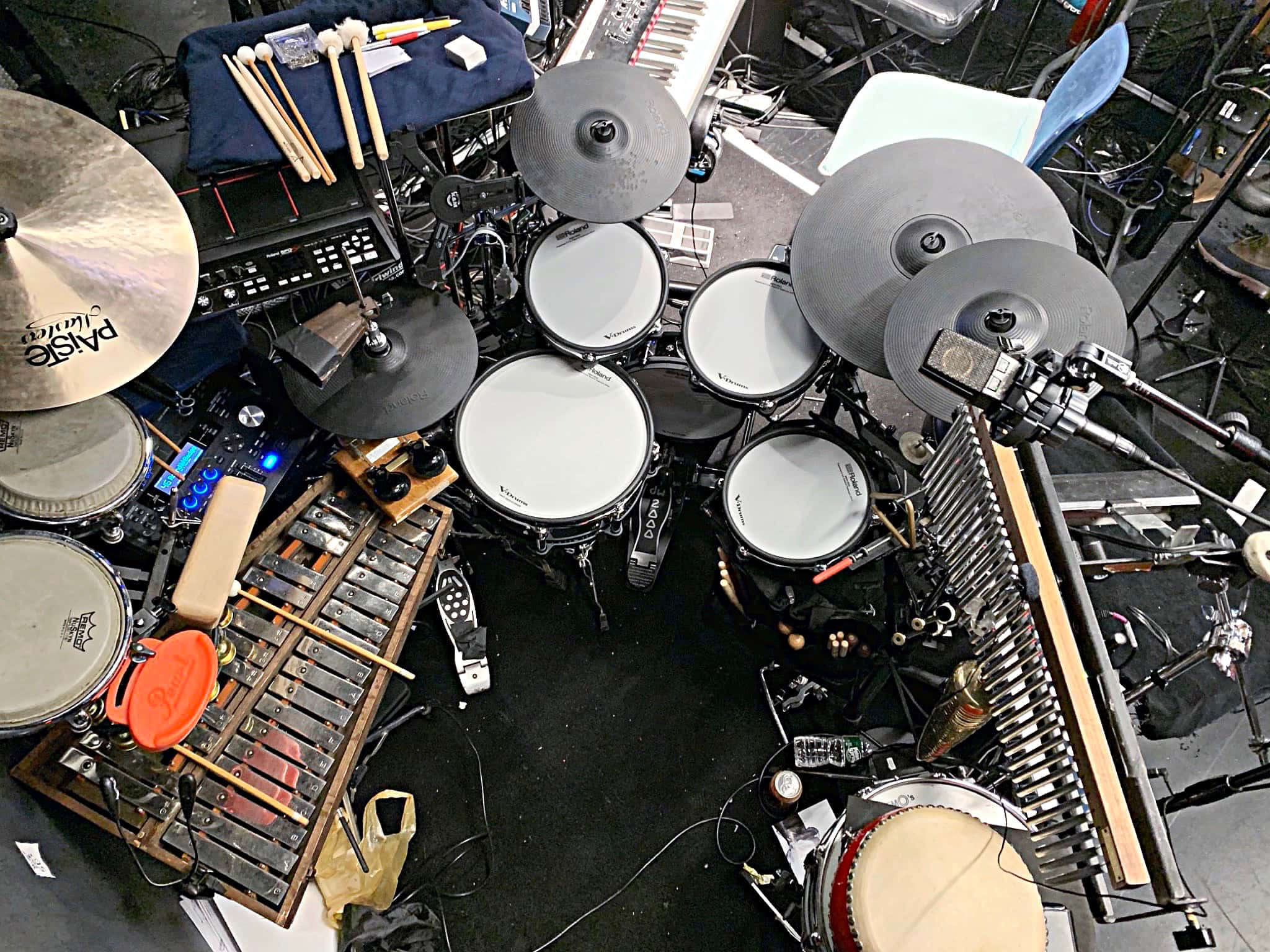 Jon Berger's setup for the 2020 Off Broadway Premier of Romeo & Bernadette: A Musical Tale of Verona and Brooklyn at A.R.T./New York Theatres in New York City.