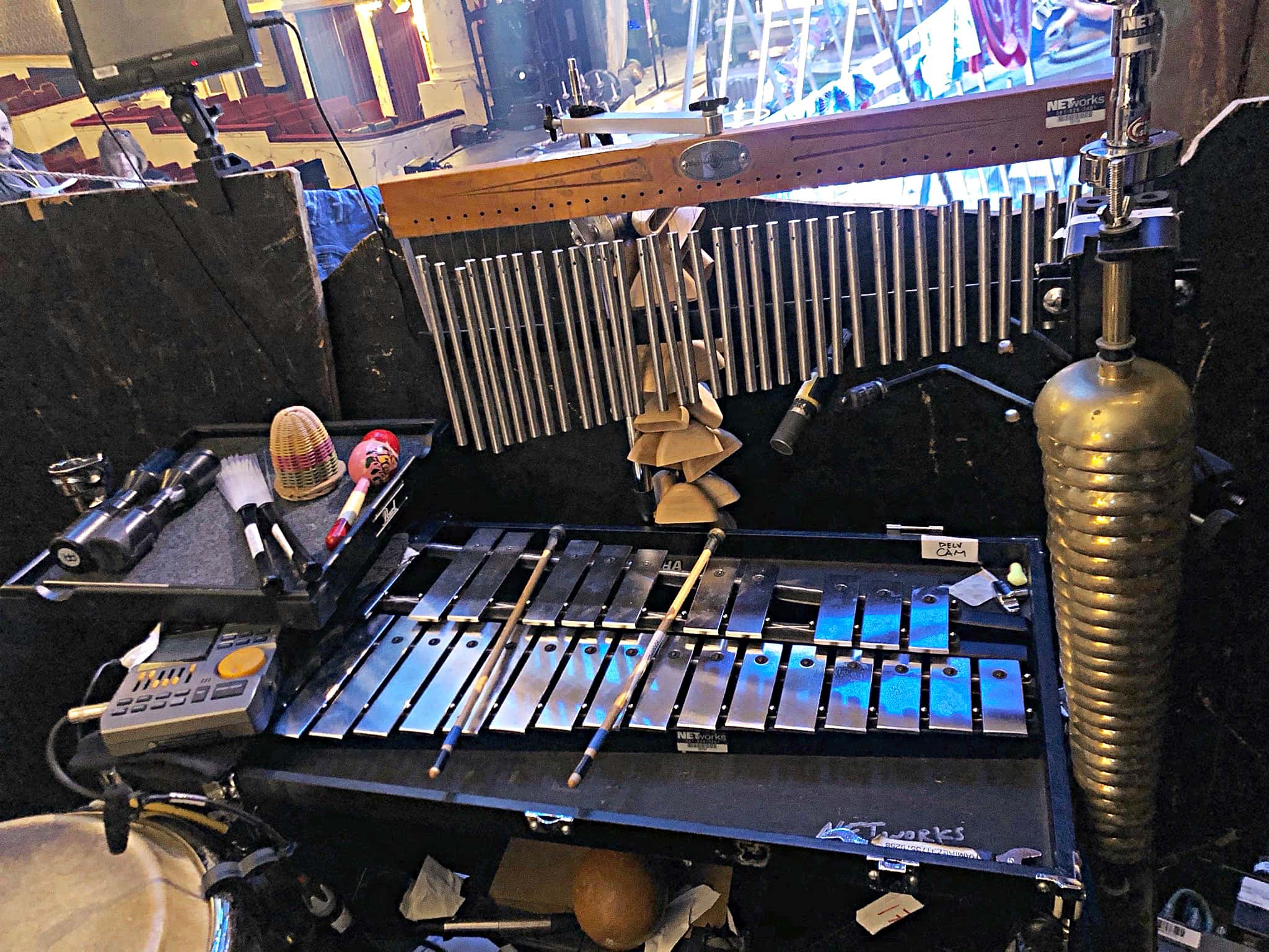 Mariana Ramirez's setup for the National Tour of Once On This Island at the Cadillac Palace Theatre in Chicago, Illinois.