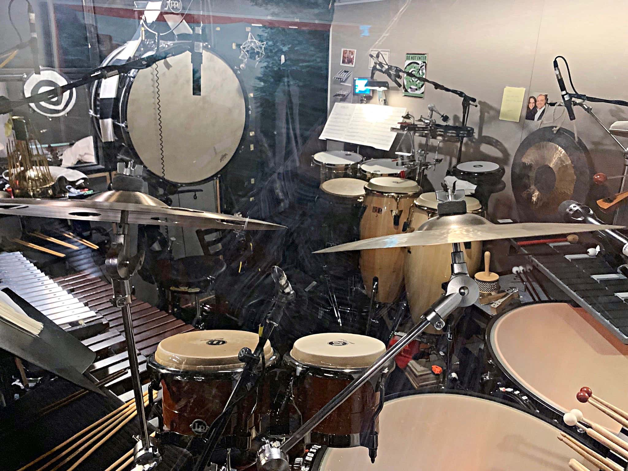 Joshua Mark Samuels' percussion setup for the 2109-2020 Broadway production of Beetlejuice at the Winter Garden Theatre.