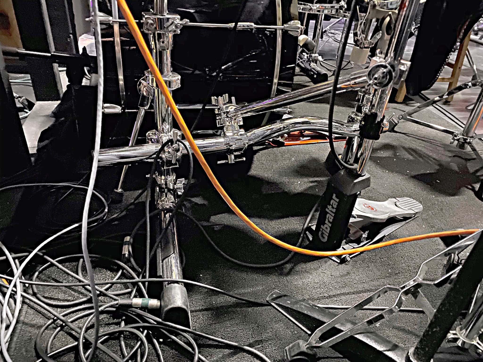Jeremy Logan's drum set setup for Kiss Me Kate at the William R. Boone High School in Orlando, Florida.