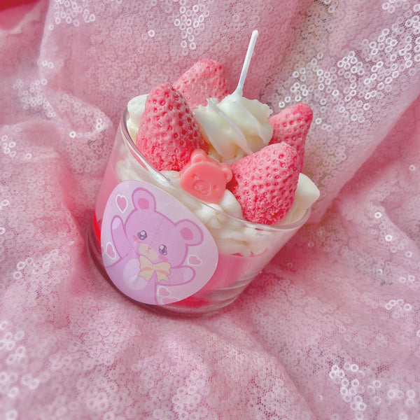 Strawberry Pudding Dessert Candle