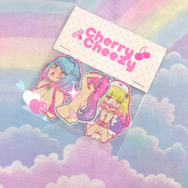 Erokawa 3-Piece Holographic Sticker Set