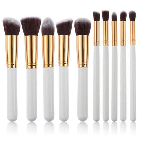 10 Piece Round Brush Set - Gold