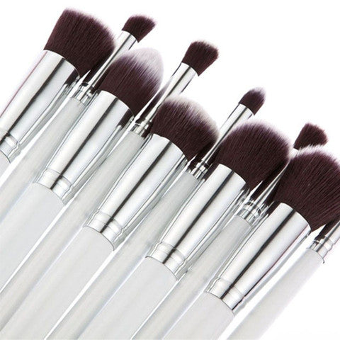 10 Piece Round Brush Set - Silver
