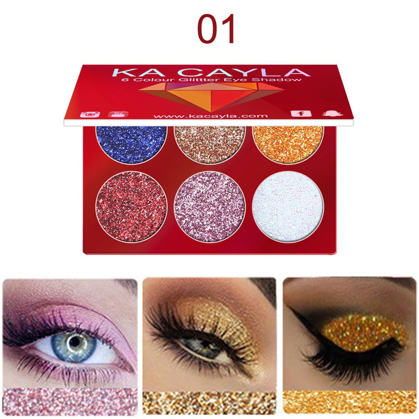 6 Color Glitter Eyeshadow Palette