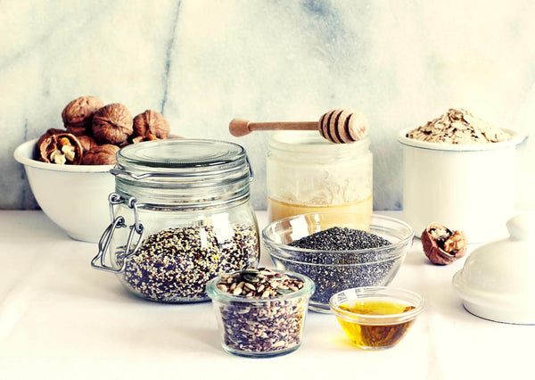 oats with tea chia walnut toppings