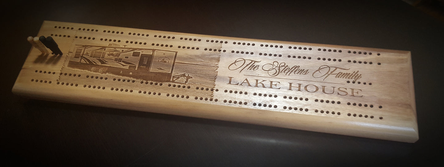 Personalized Solid Walnut Wood Cribbage Board