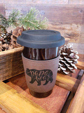 Papa Bear Latte Mug with Slicone Lid and Leatherette Sleeve